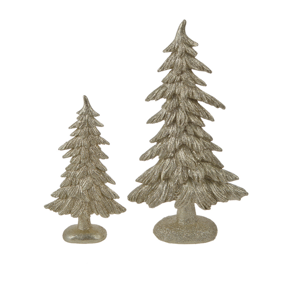 Tall Polyresin Tabletop Artificial Spruce Glitter Christmas Tree Decorative Figurine