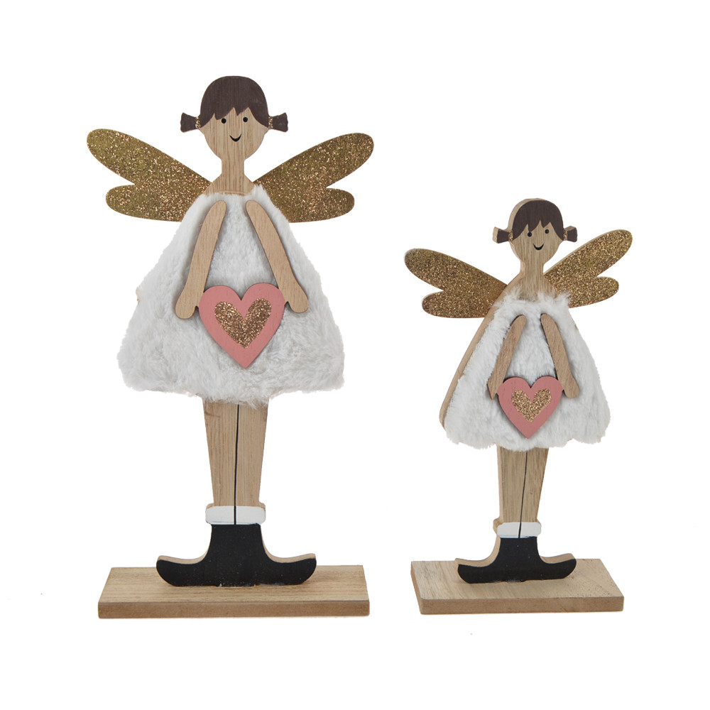 The top selling 2020 pink white color wooden + furry girl angel decorations for desktop party decoration
