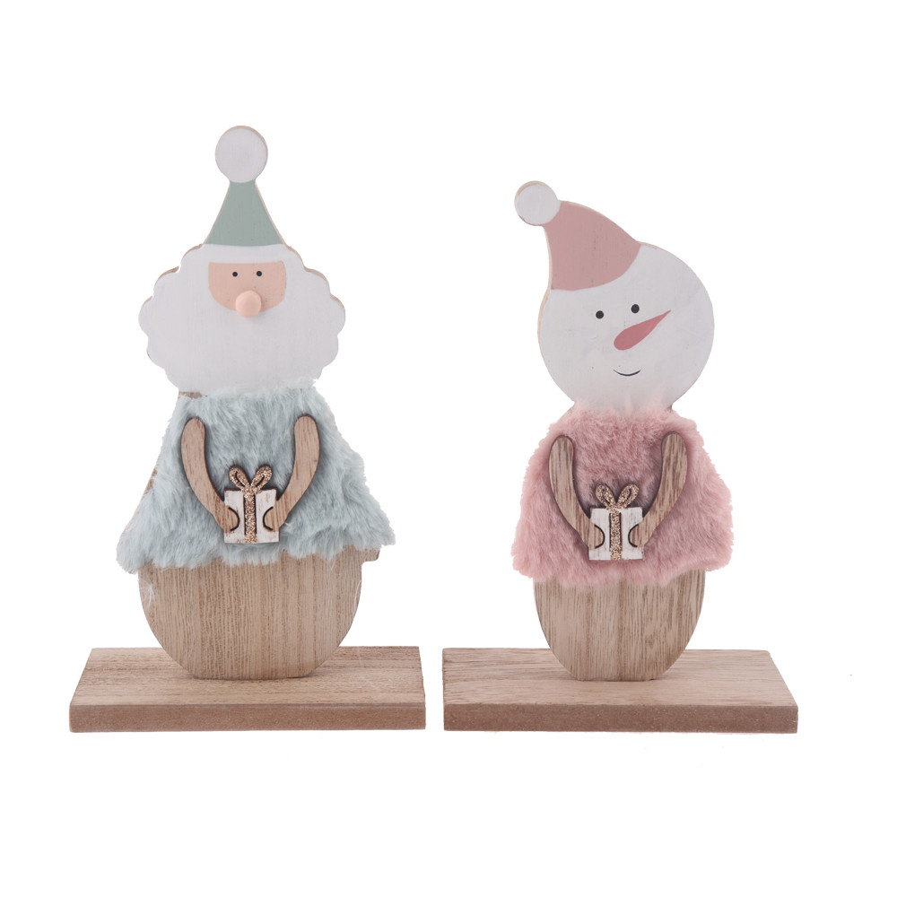 2020 the latest element wooden + furry Christmas snowman, Santa Claus tabletop party decorations