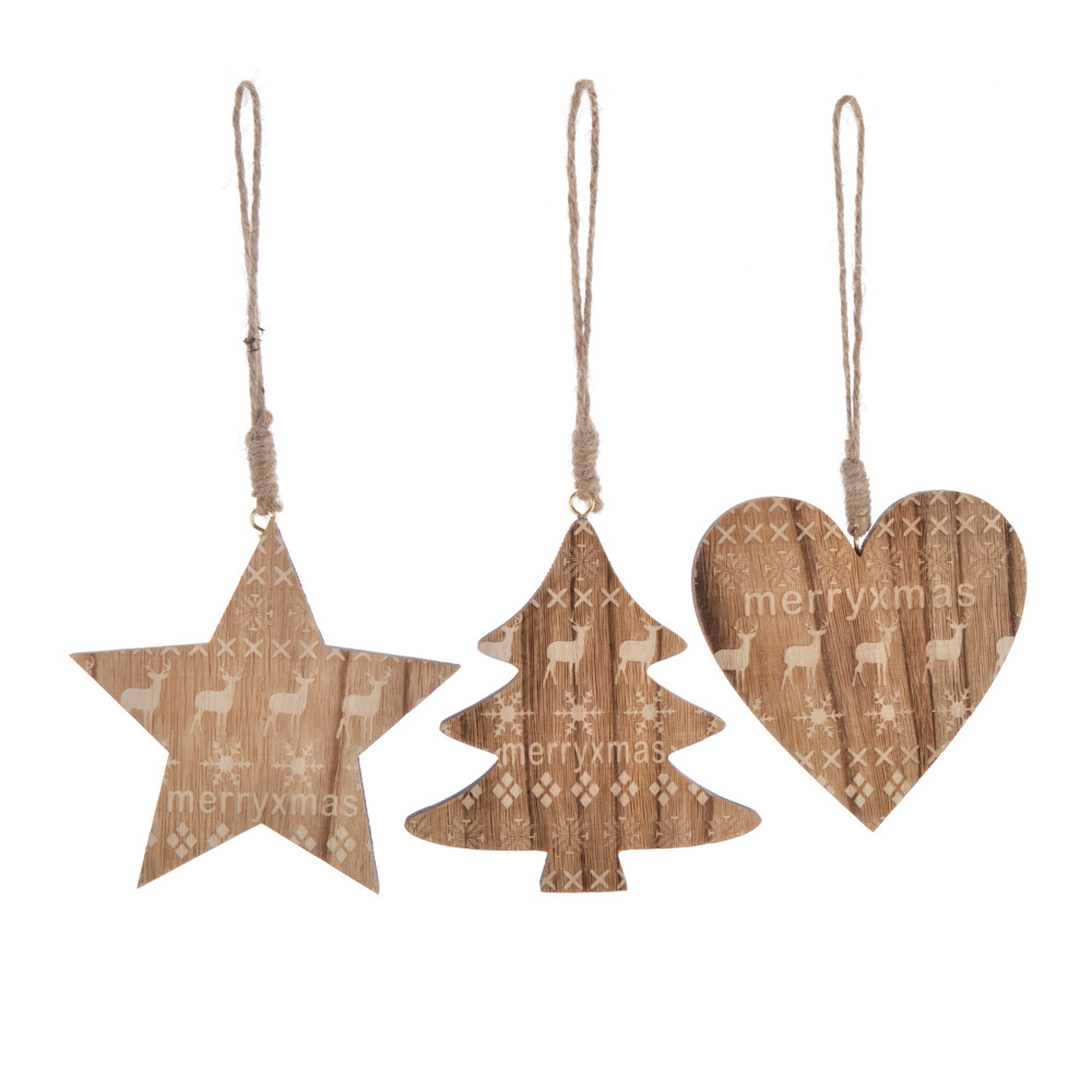 DIY Christmas natural wooden star tree heart hangers tree hanging pendant party decor