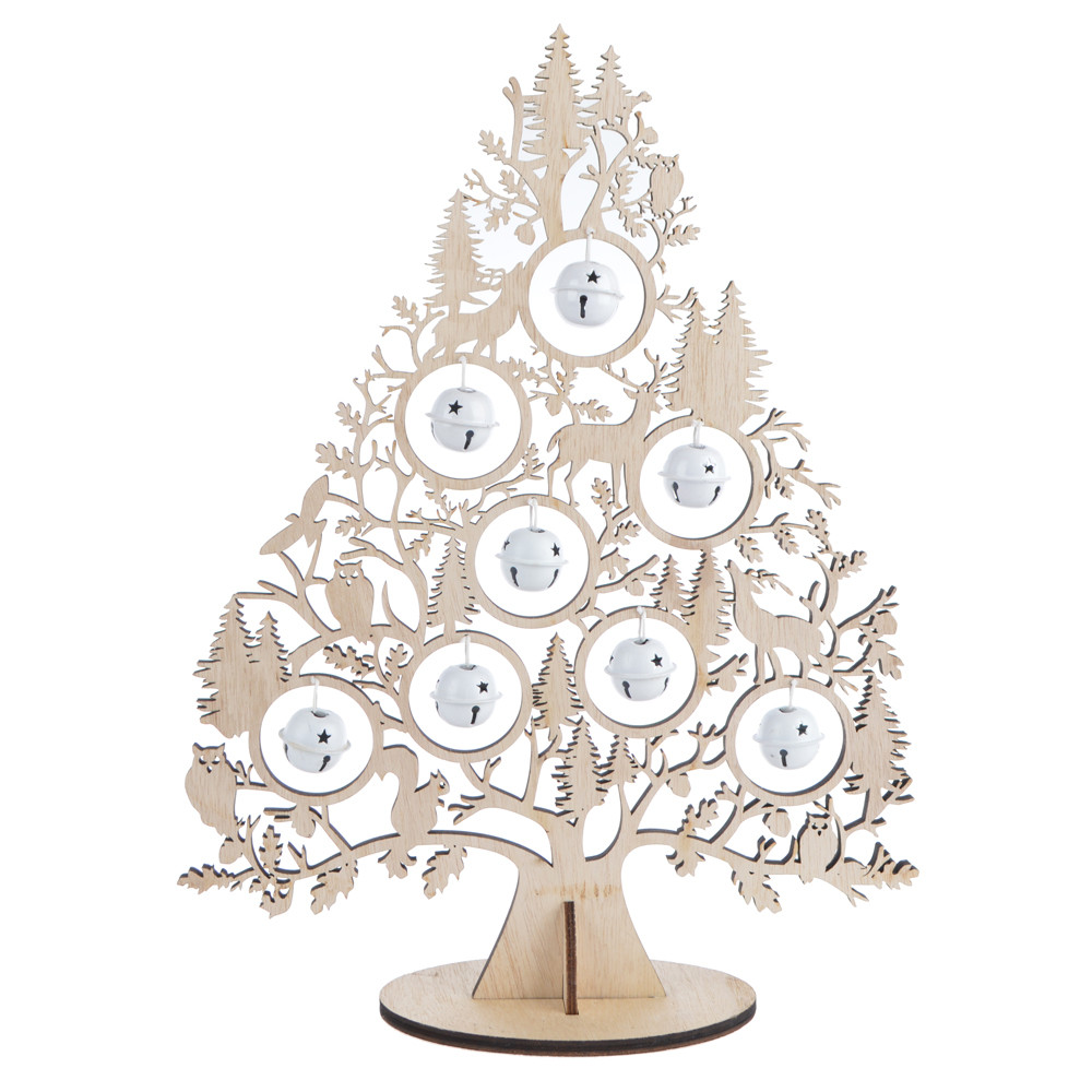 Xmas room decoration festive season standing table top small wood Christmas tree will bell ornament