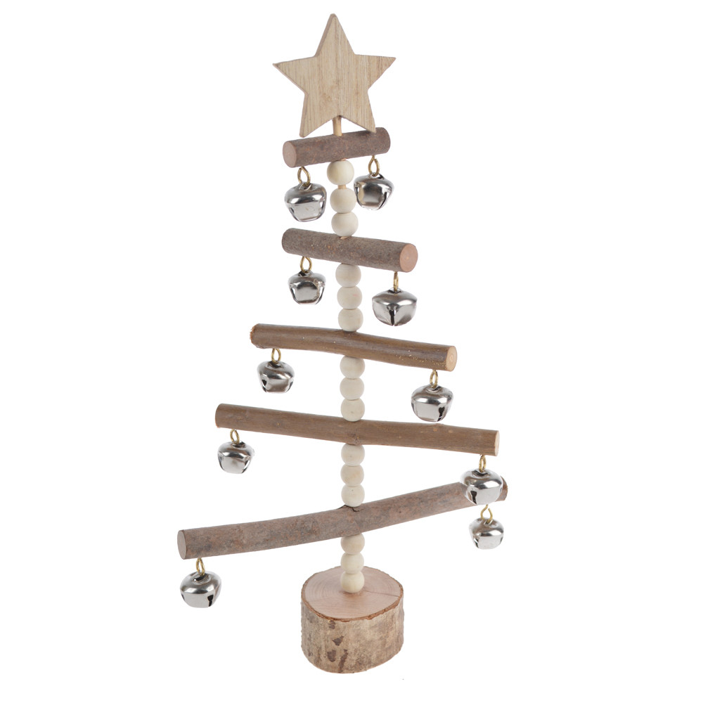 natural wood base decorative with silver bells wooden Christmas decoration tree craft decor