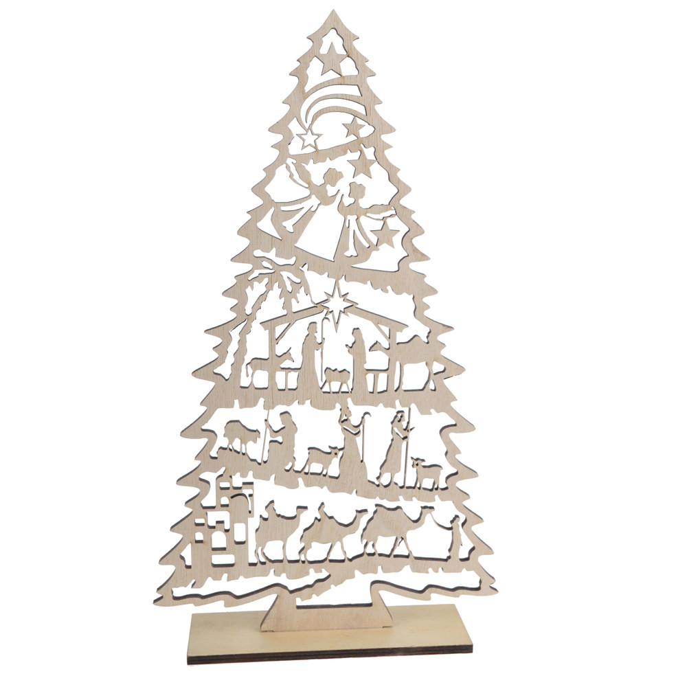 table top ornament laser cut hollow out angel design Christ decorative wooden Christmas tree craft