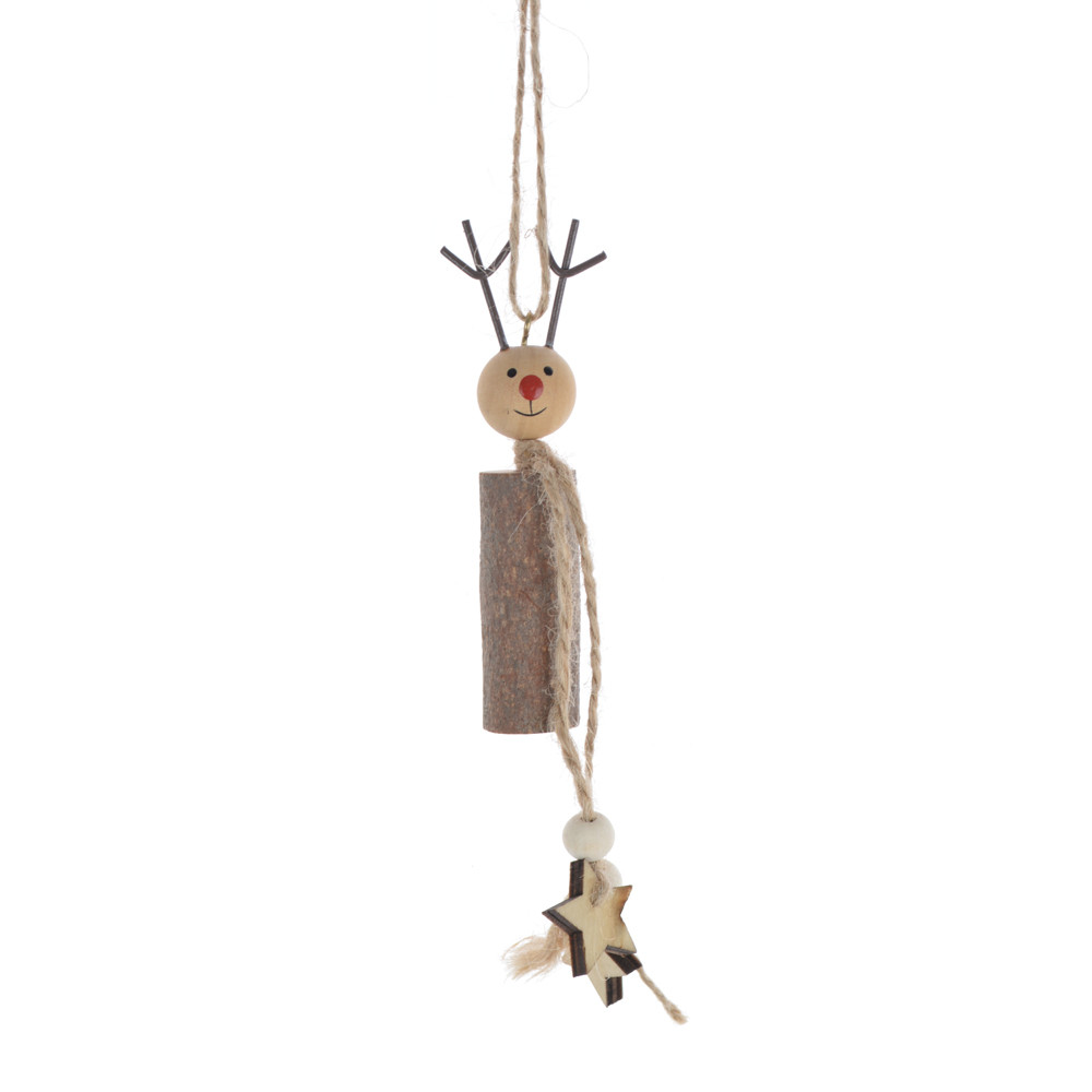 DIY handmade Crafted Kids Christmas decoration gift wooden acorn deer hanging