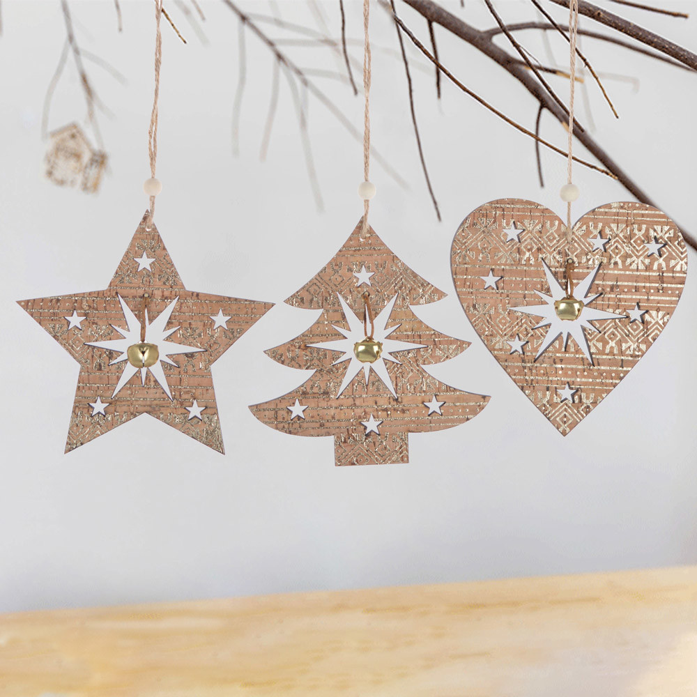 wooden star tree heart hanging Christmas tree ornament