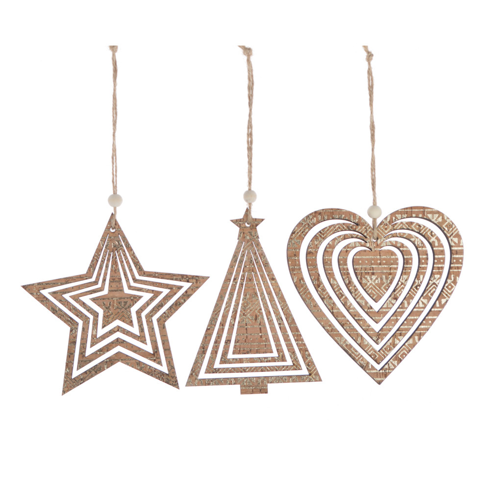 facorty die cut party rustic decoration customized wooden star tree heart hanging