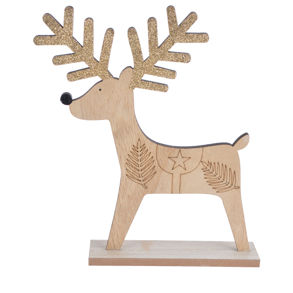 Christmas table top decoration wooden reindeer ornament deer elk stag rudolf ornamentation