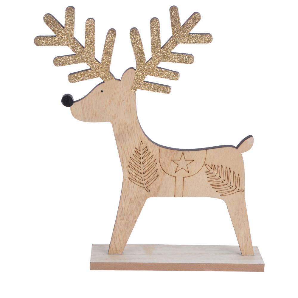Christmas table top decoration wooden reindeer ornament deer elk stag rudolf ornamentation