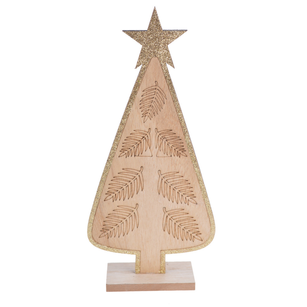 Festive home decor Christmas gifts favors natural wooden Christmas tree glitter star top ornament