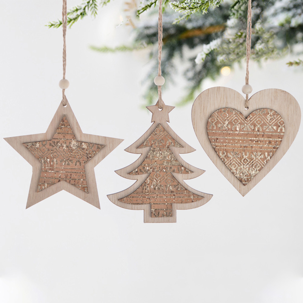 Christmas decoration wooden star hanging tree ornament heart hangers