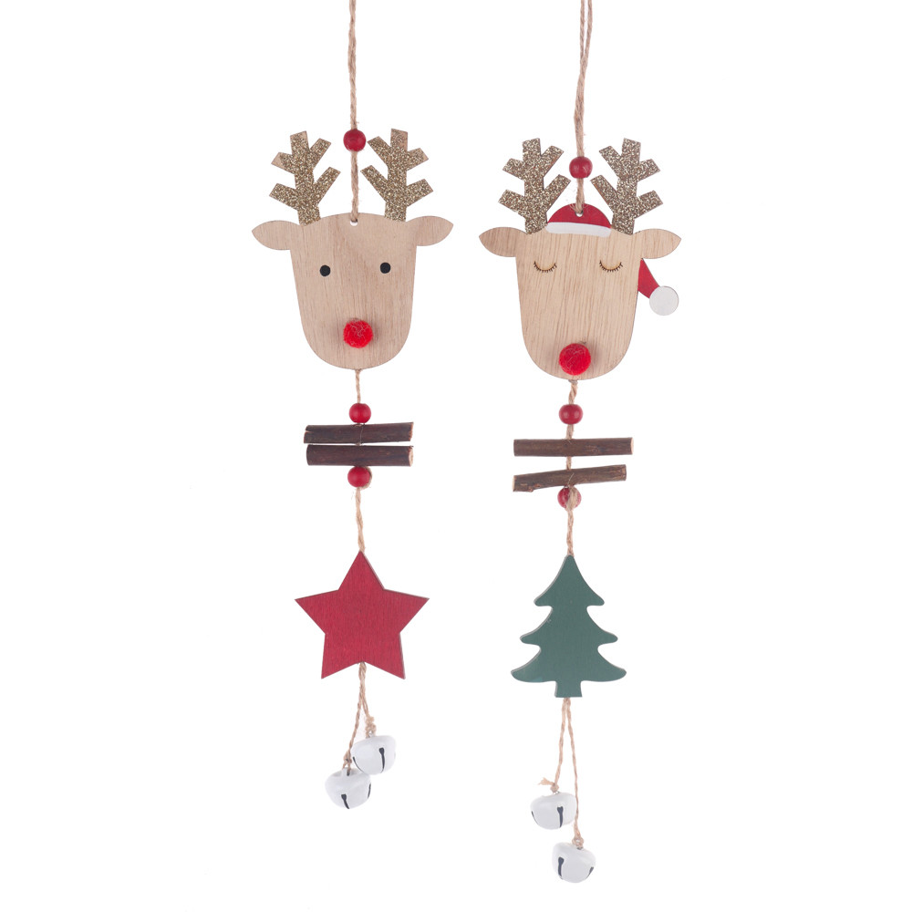 Christmas Ornaments Hanging Wooden Pendant Christmas Tree Rope Ornament wood hanger Home Party Decoration Gift Deer