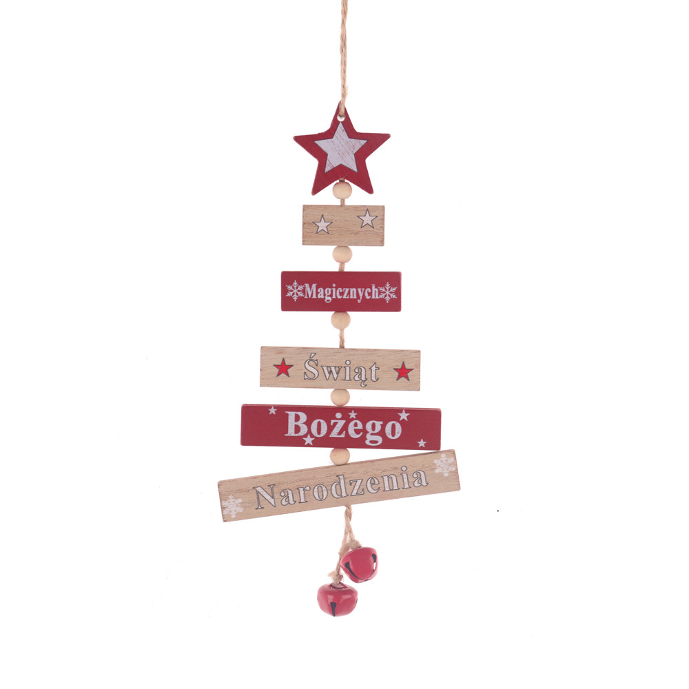 Factory wood natural red color rectangle set up a tree shape hanger with star bell festival hanging pendant drop ornament