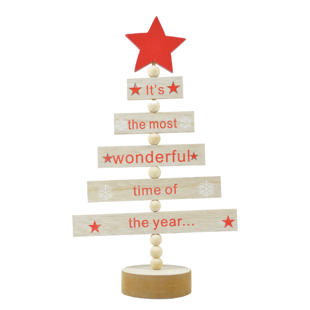 wholesales wooden natural color rectangle set up a tree shape with star topper tabletop decoration supplier