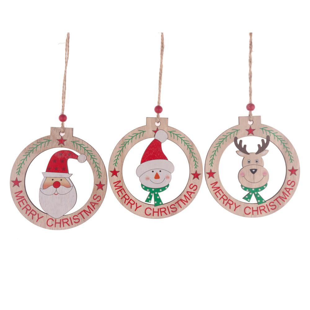 wholesales supplier wooden round shape snowman deer santa pattern hollow out pendant wood drop christmas ornament