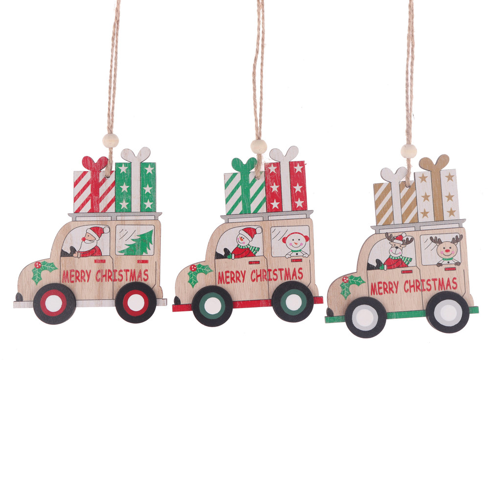 Christmas Wooden Slices Hanger Wood Car Hanging Xmas Tree Ornaments Christmas Party Supplies