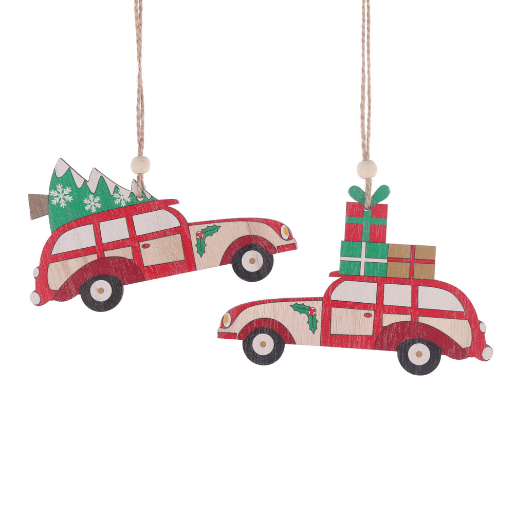 Factory Christmas Tree Hanging Embellishments Decoration Hanger Craft Car Wooden Slices Ornaments Xmas Party Decor