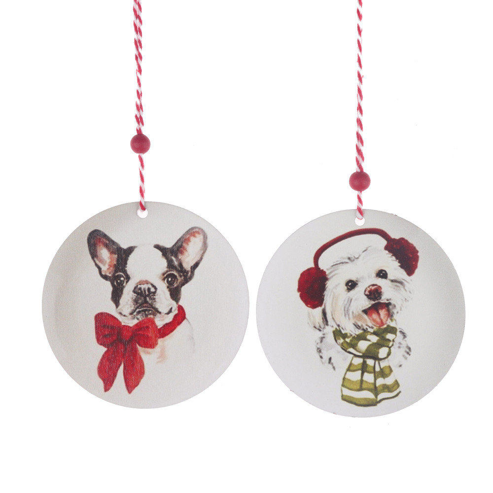 Wooden Round Bauble Hanging Wall hanger Gift Tag Shapes Door pendant cute dog printing drop ornament
