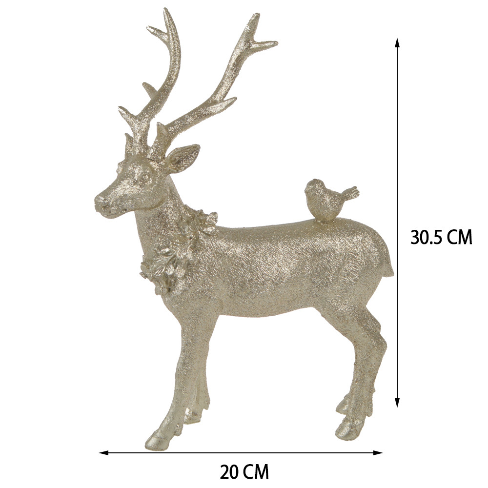 Factory new design resin decoration silver champagne station deer Table decor Christmas house decorations DIY