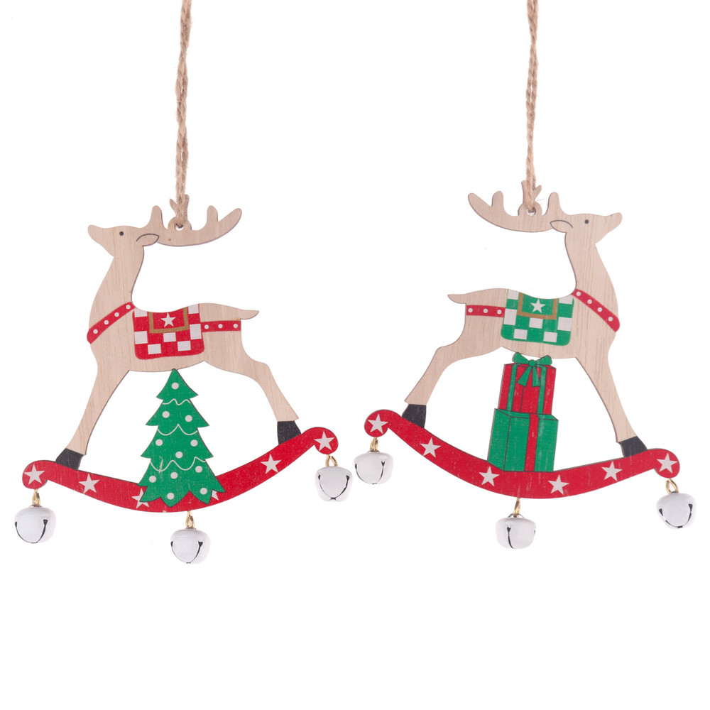 Factory Wooden Deer Pendants Decorations Xmas Wooden Hanger Christmas Tree Wood Painted elk with bell drop ornament