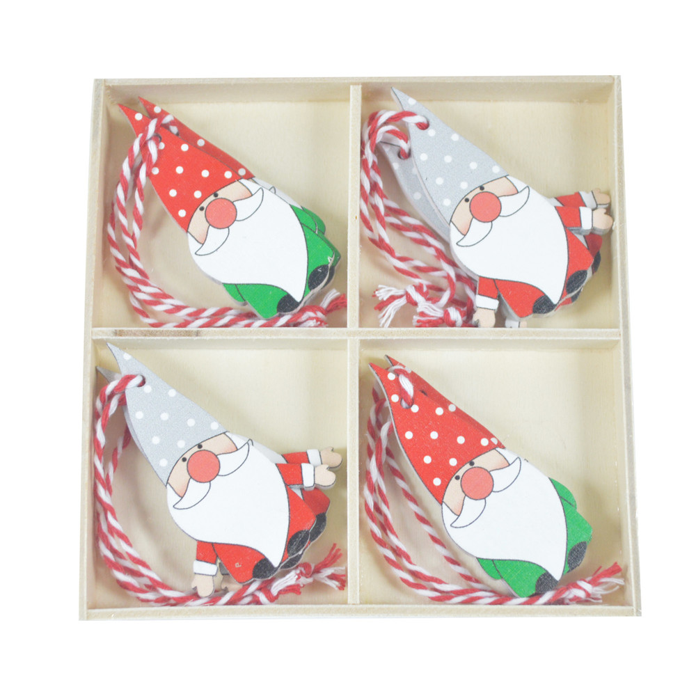 Christmas Wooden Pieces colourful Gnome Hanging Embellishments Xmas Tree Pendants Ornaments Decorations