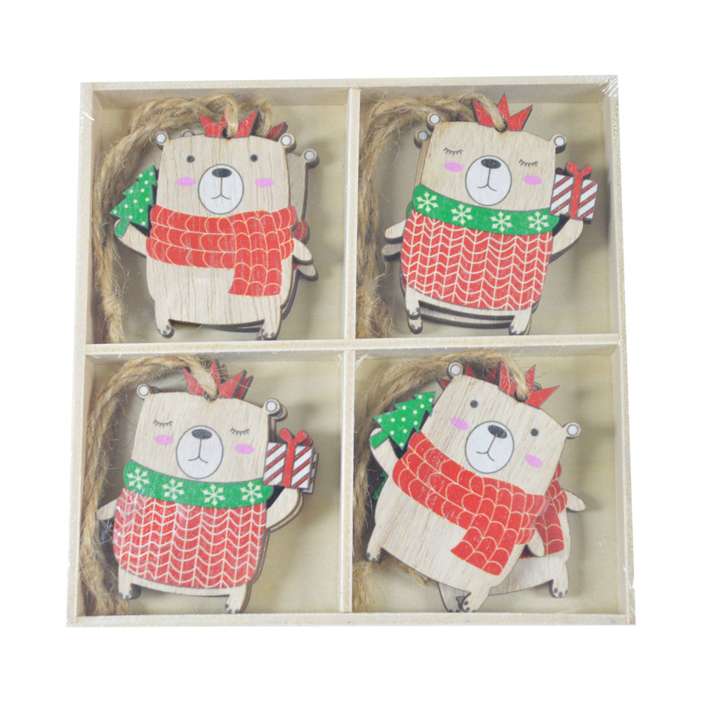 Mini Laser Cuts Wood Bear Shapes Wooden Ornaments for Craft Projects and Present Wrap Tags Packing decoration