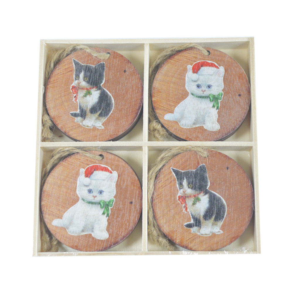 Wooden cut holiday gift tags with string wood round bauble cat pattern hanging