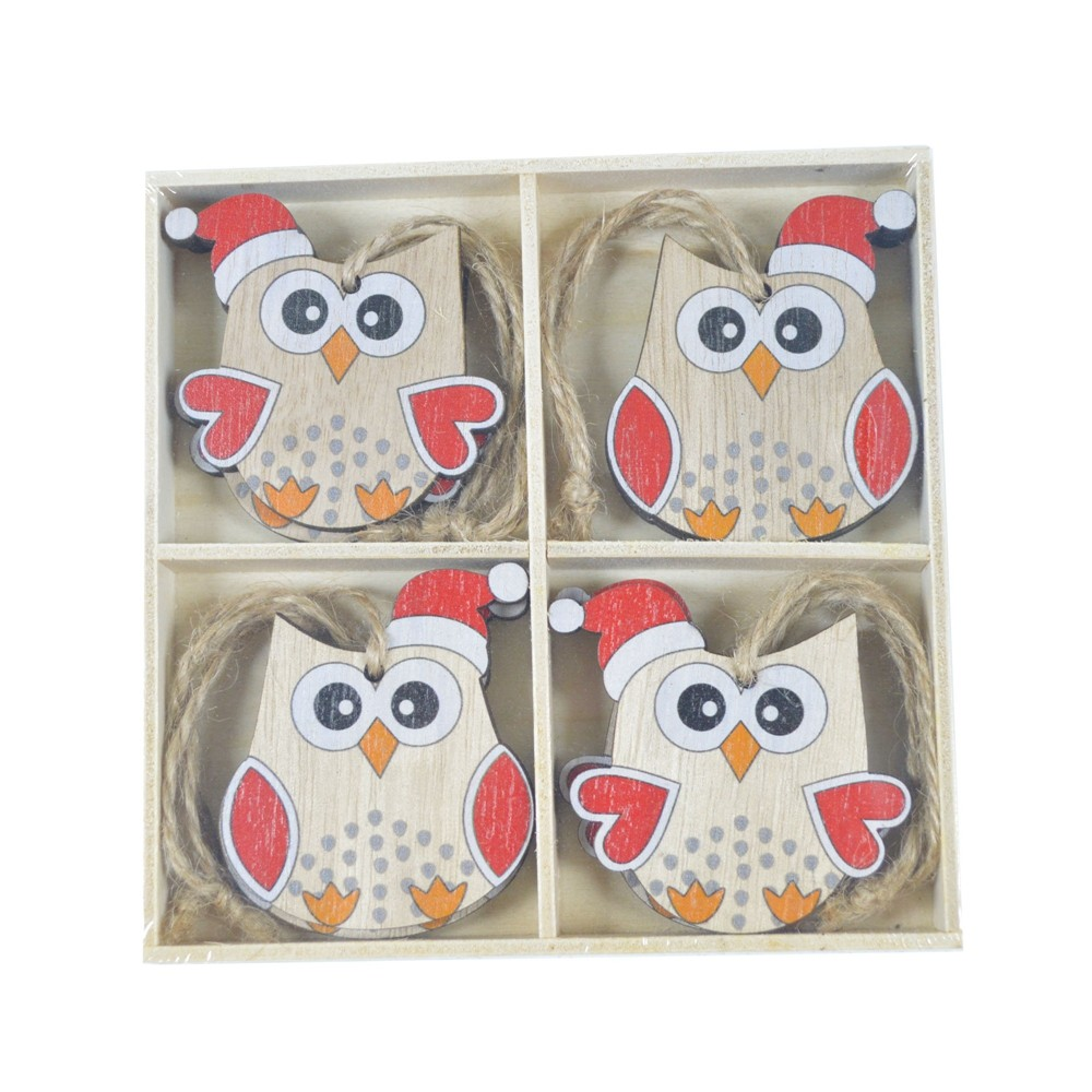 Factory crafts wooden Christmas ornament Christmas owl decoration wooden decoration Christmas gift decoration 8 pcs
