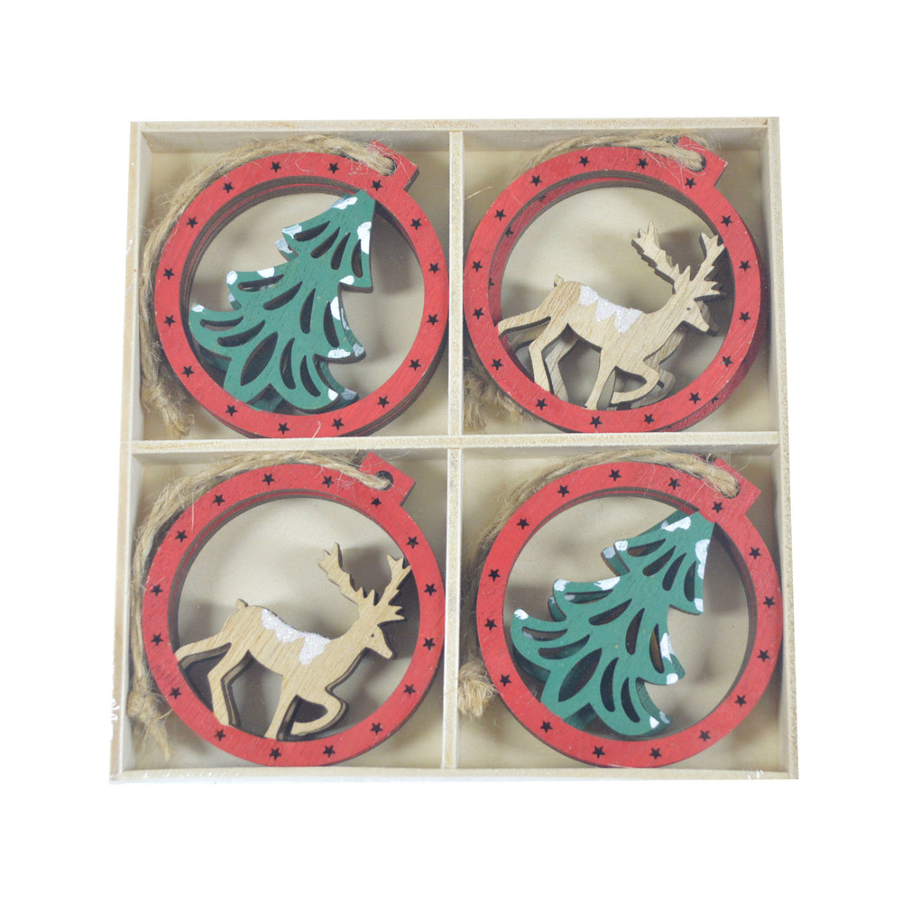 holiday gift wrap idea for decorating your handmade Christmas gifts Wood round bauble deer tree hollow out festival ornament