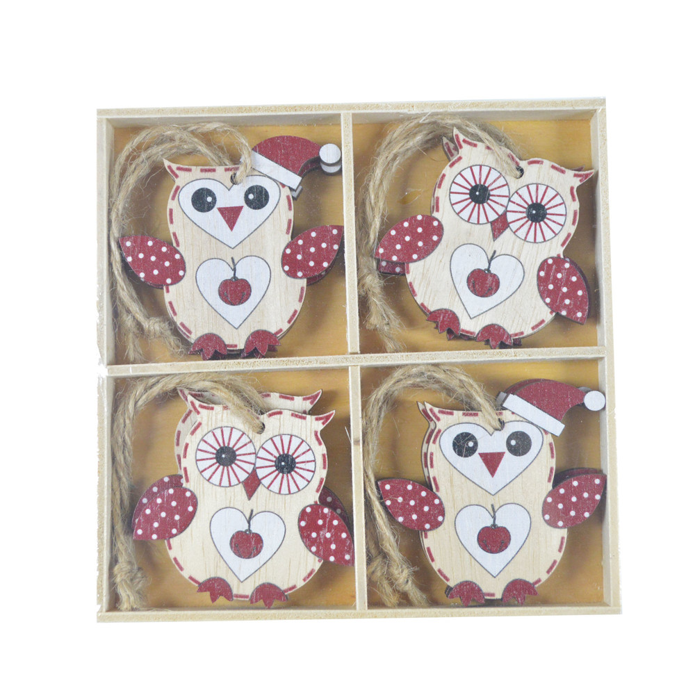 Wholesales Pretty Packaging Gift Wrap Ideas Wooden mini baby owl cute hanging wood pendant home decor