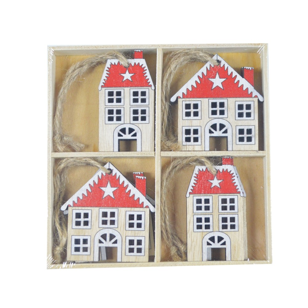 Supplies 8pcs wooden Table ornament house Christmas pendant Xmas hanging decoration Home DIY