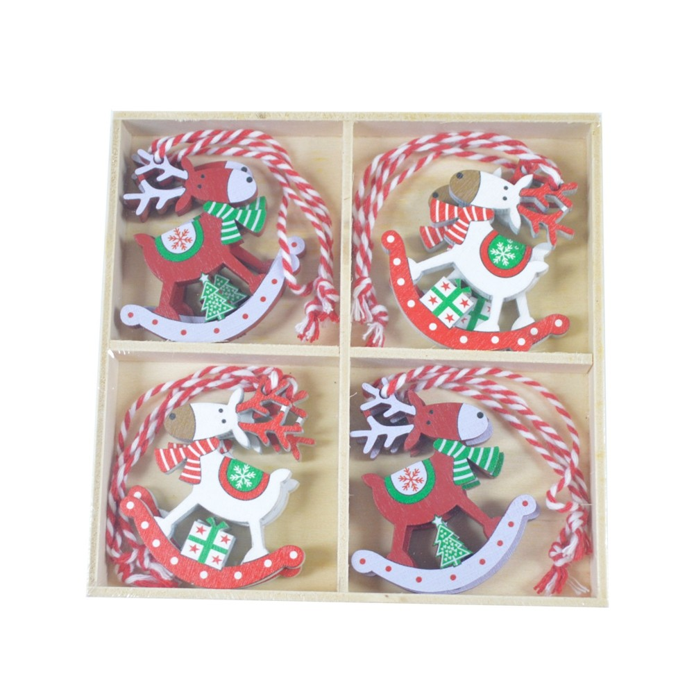 Creative wooden pendants Christmas DIY ornaments reindeer Christmas tree decoration Xmas party decorations
