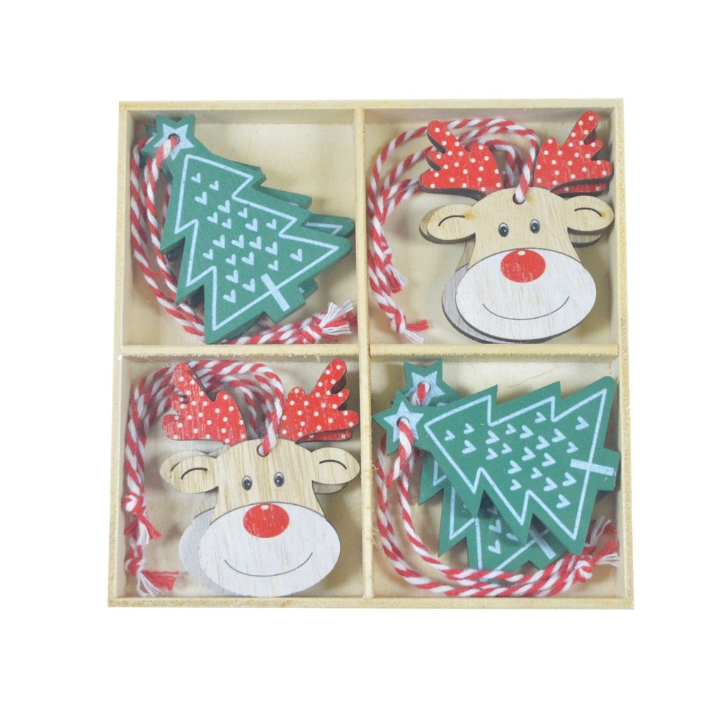 Factory wholesale 6cm Christmas Hanging deer tree Christmas ornaments wooden pendant small Christmas decoration