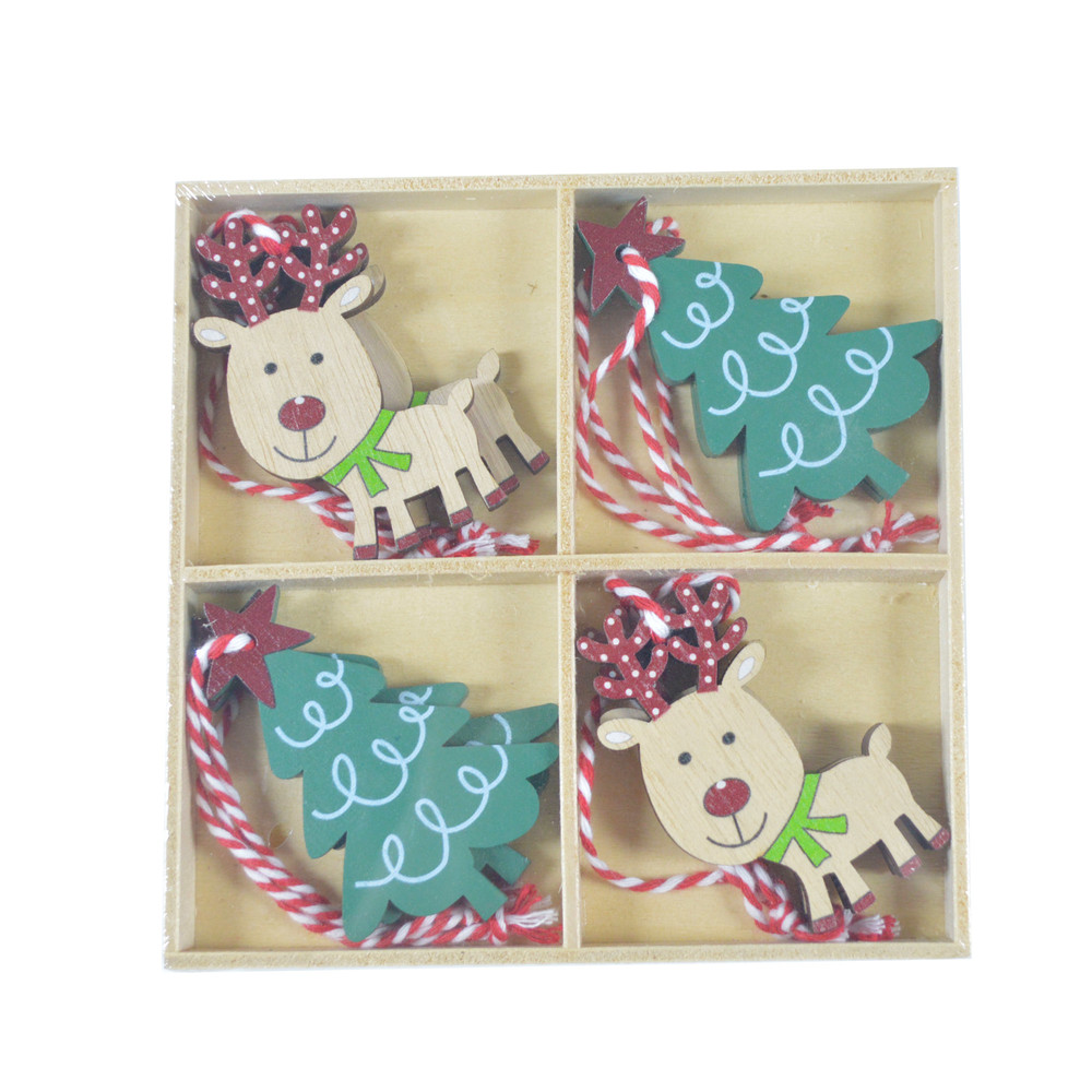 Manufactory supply deer hanging ornaments party favors holiday wooden decoration Christmas home decor