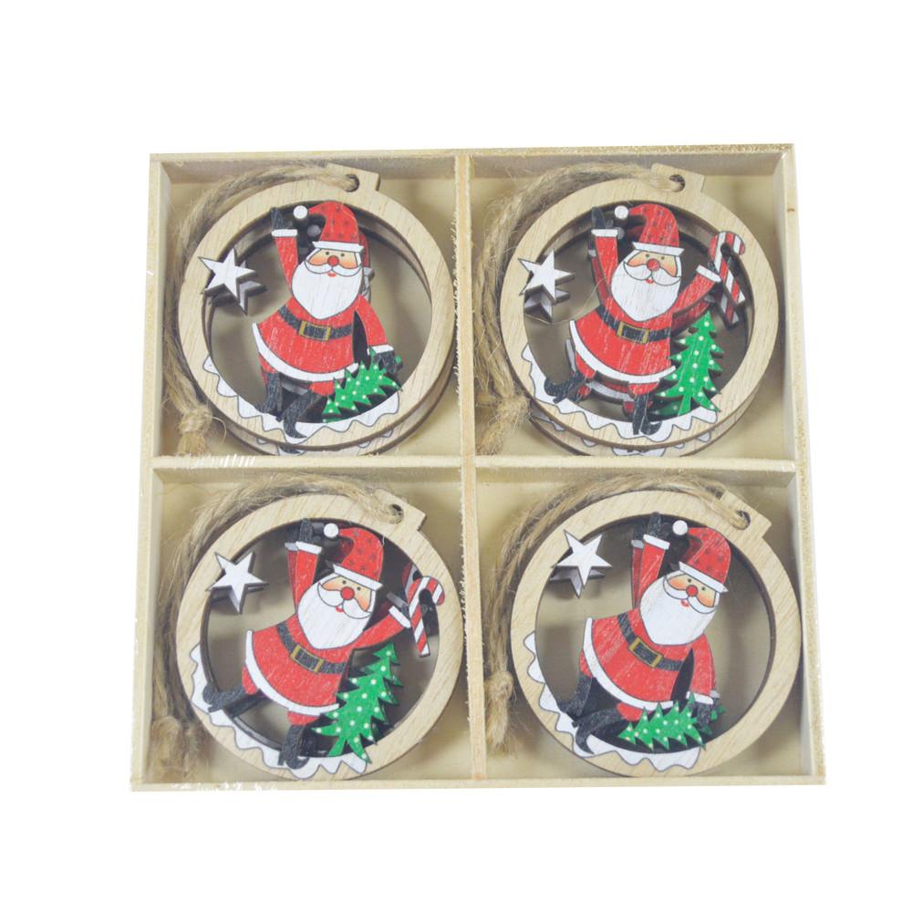 Supplies wholesale modern home decor wooden Hollow Christmas tree decoration Santa home ornament DIY pendants