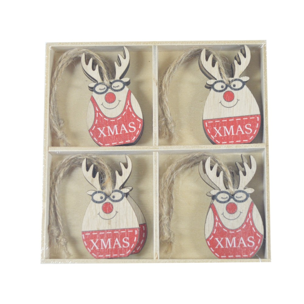 Factory supplies Reindeer buck stag wooden hanging Christmas tree decoration set of 8 cartoon design