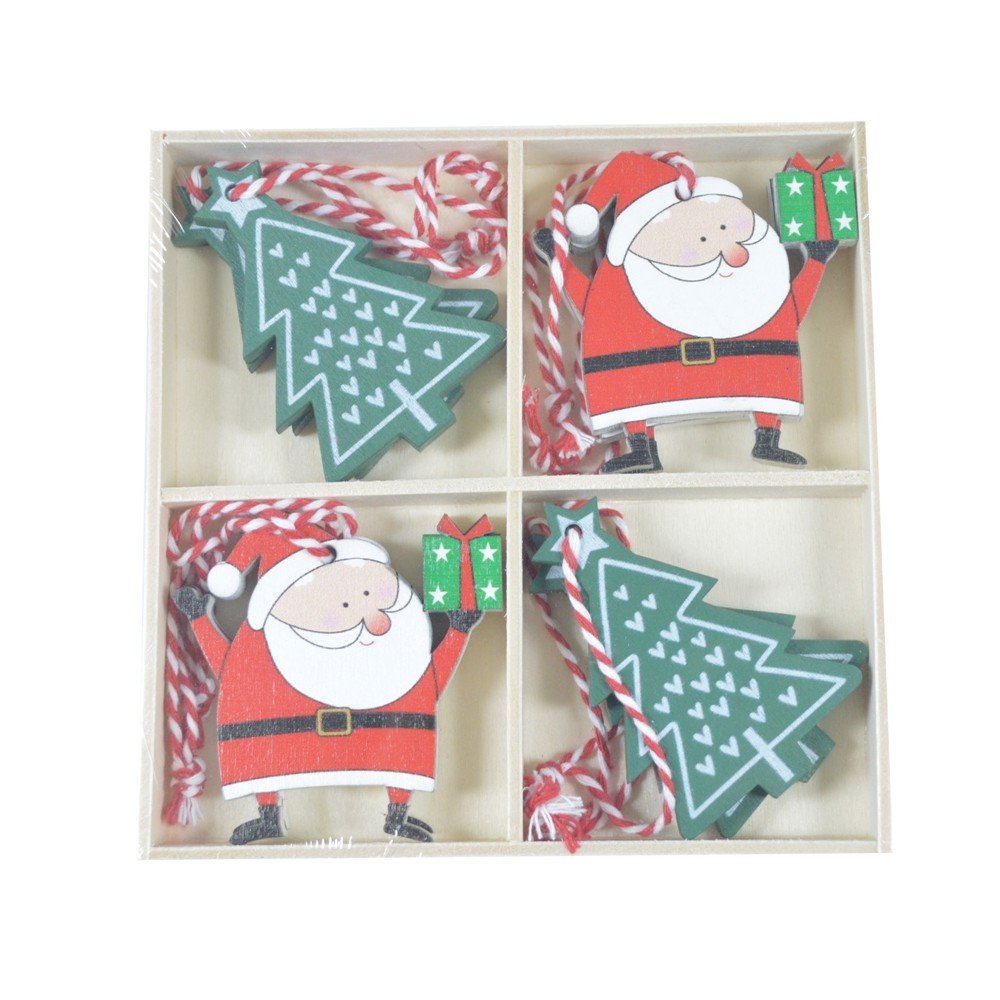 Factory direct Wooden Hanging Ornaments wooden Christmas ornament lovely Santa decoration tree decor