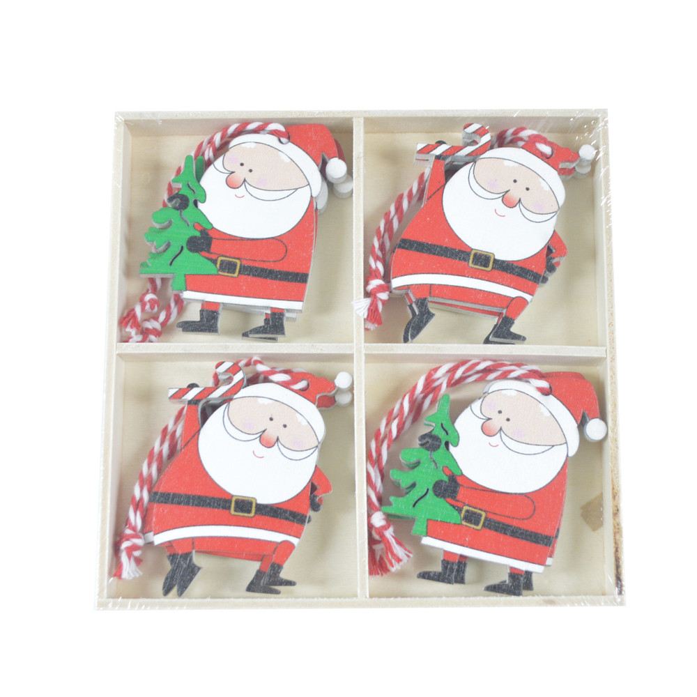 Holiday supplies wooden Hanging ornaments cute Santa claus ornaments Christmas Hanging decor for home