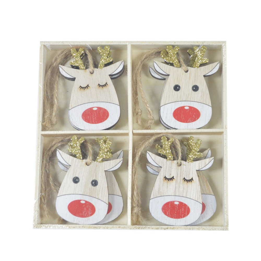 Wholesale factory handmade adorable reindeer Christmas tree ornament wooden pendant Holiday home decorations