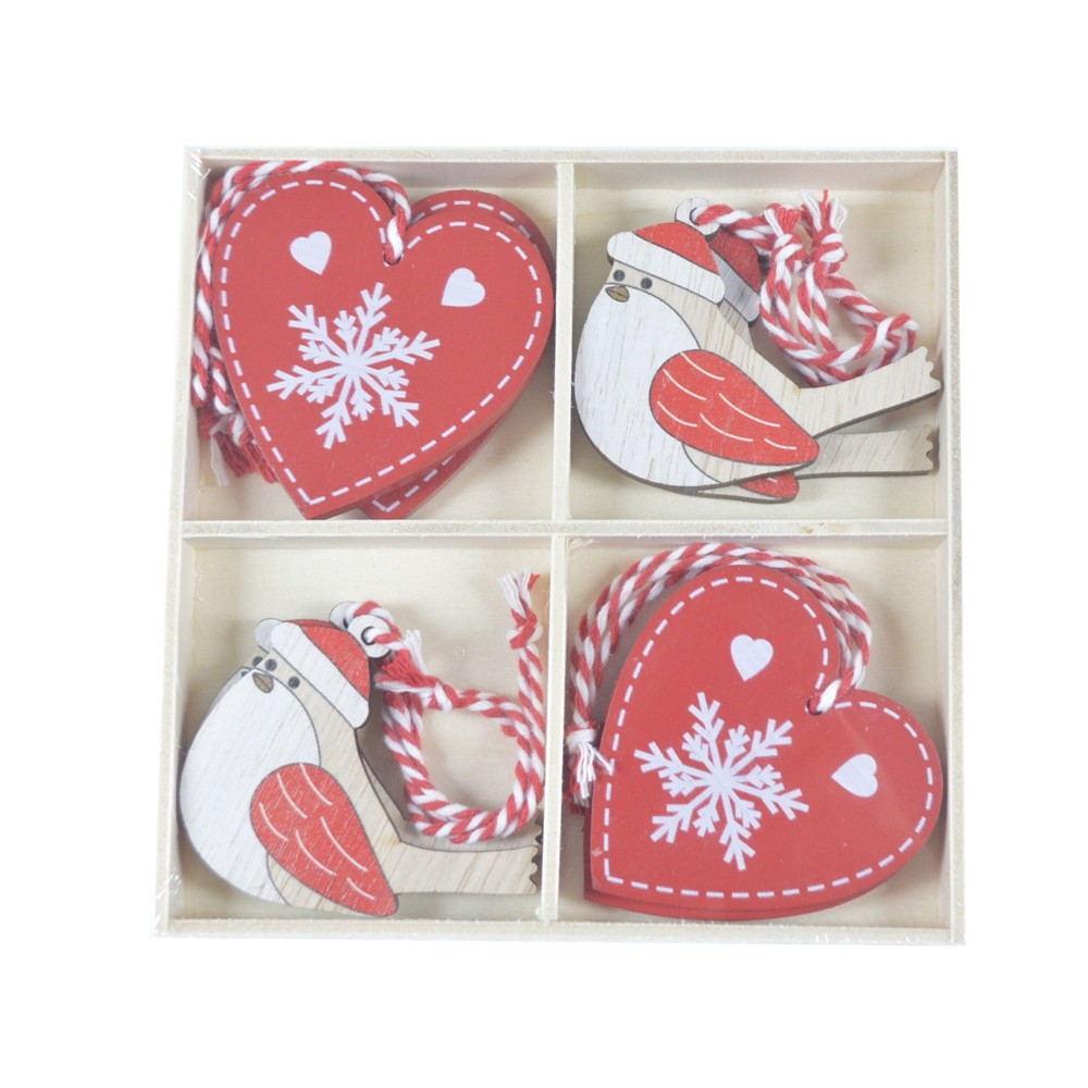Factory supply exquisite Red Heart Wooden Pendant Bird Hanging decoration Kids Party Favor Xams decor