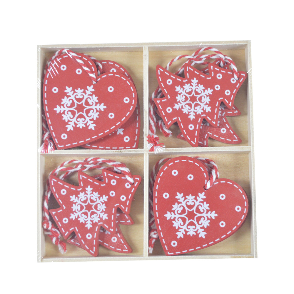 Factory Pack of 8 Heart tree Christmas Decorations Great for Christmas Decorations Xmas Pendant for home Decoration