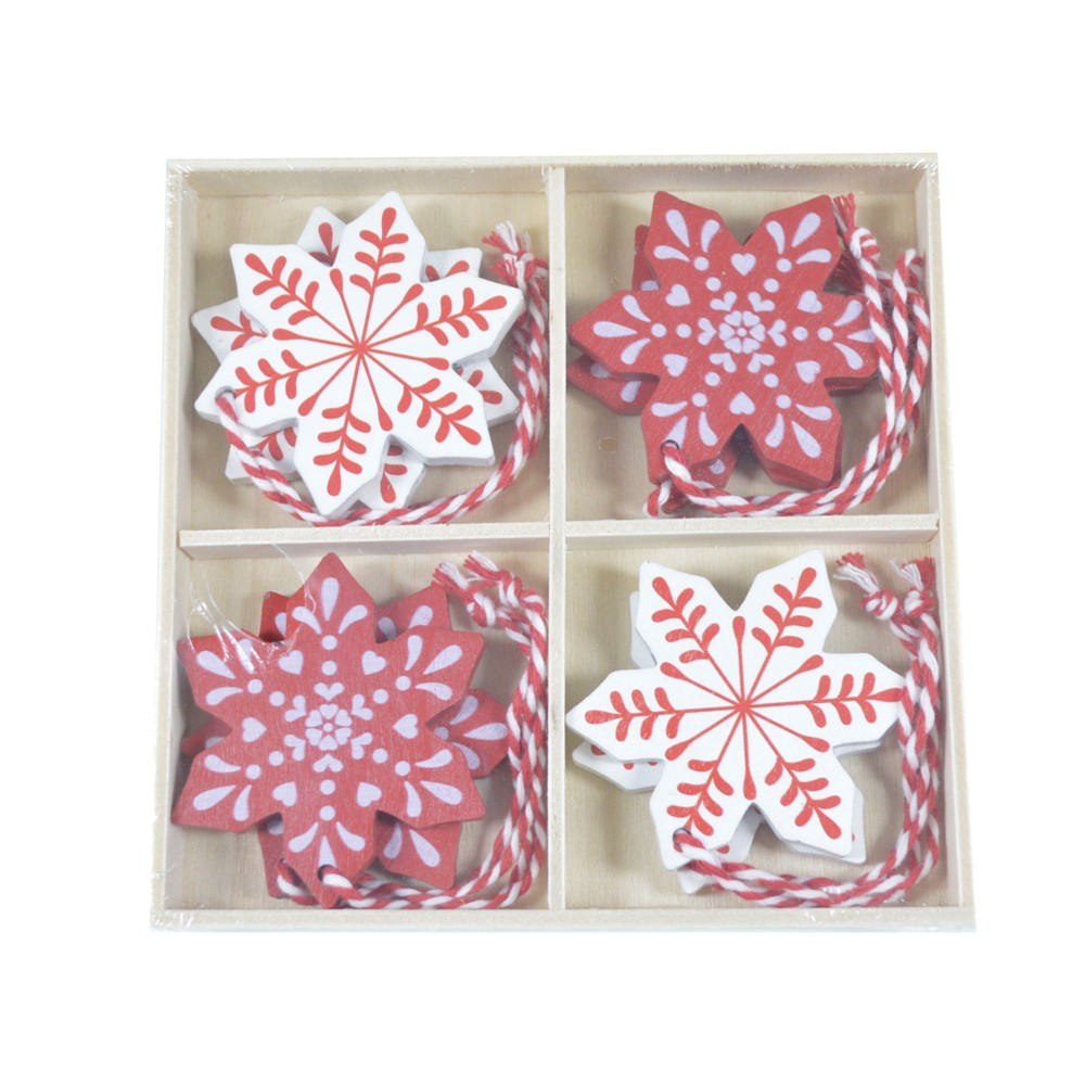 Factory supplies Red Snowflake Christmas decoration Christmas Wooden Ornaments gifts decoration for home