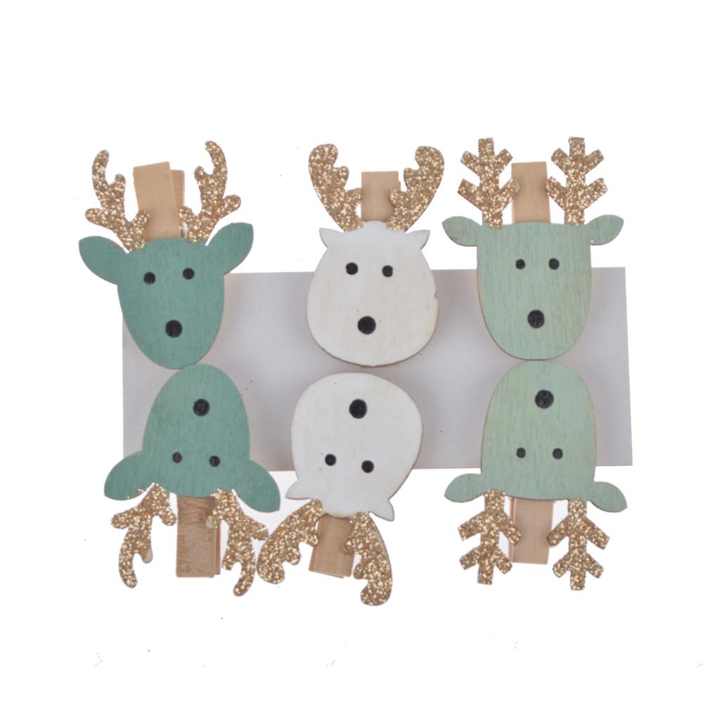 Factory design 6 Wooden Christmas Card Holder Pegs carton deer wooden peg decoration Mini Peg Set