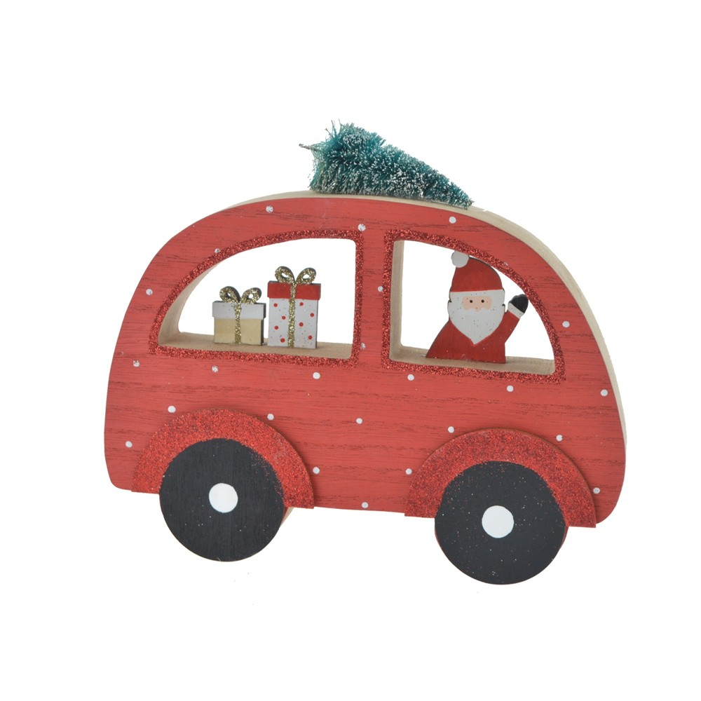 2020 Factory Wholesale Wooden Christmas tabletop Decoration Small car for Kids gifts Wooden DIY Crafts