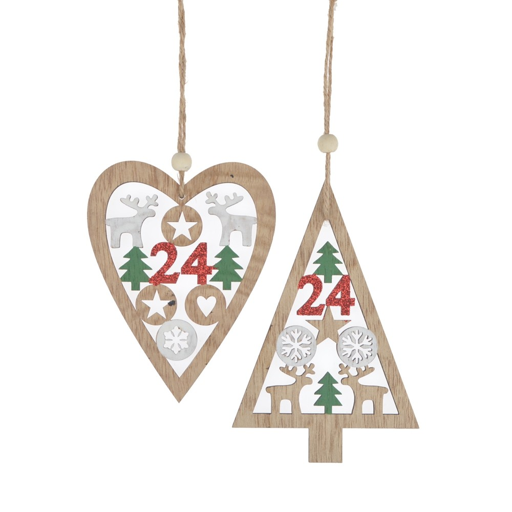 Manufactory supplies Wooden Tree heart Hanging Christmas Tree Pendant home Ornament Hollow-out Xmas decorations