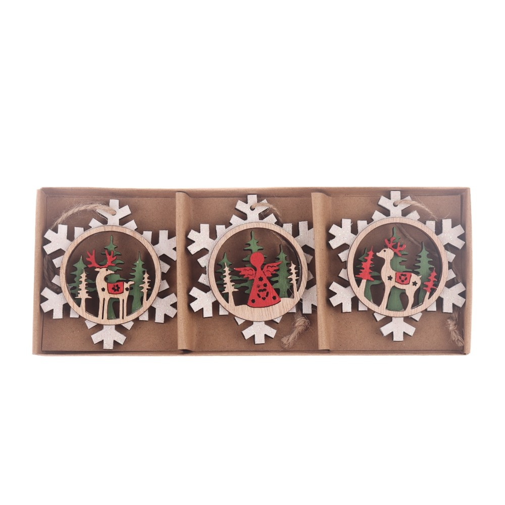 Factory New products Hollow out ornaments wooden snowflake hanging pendant Christmas wall hanging decor