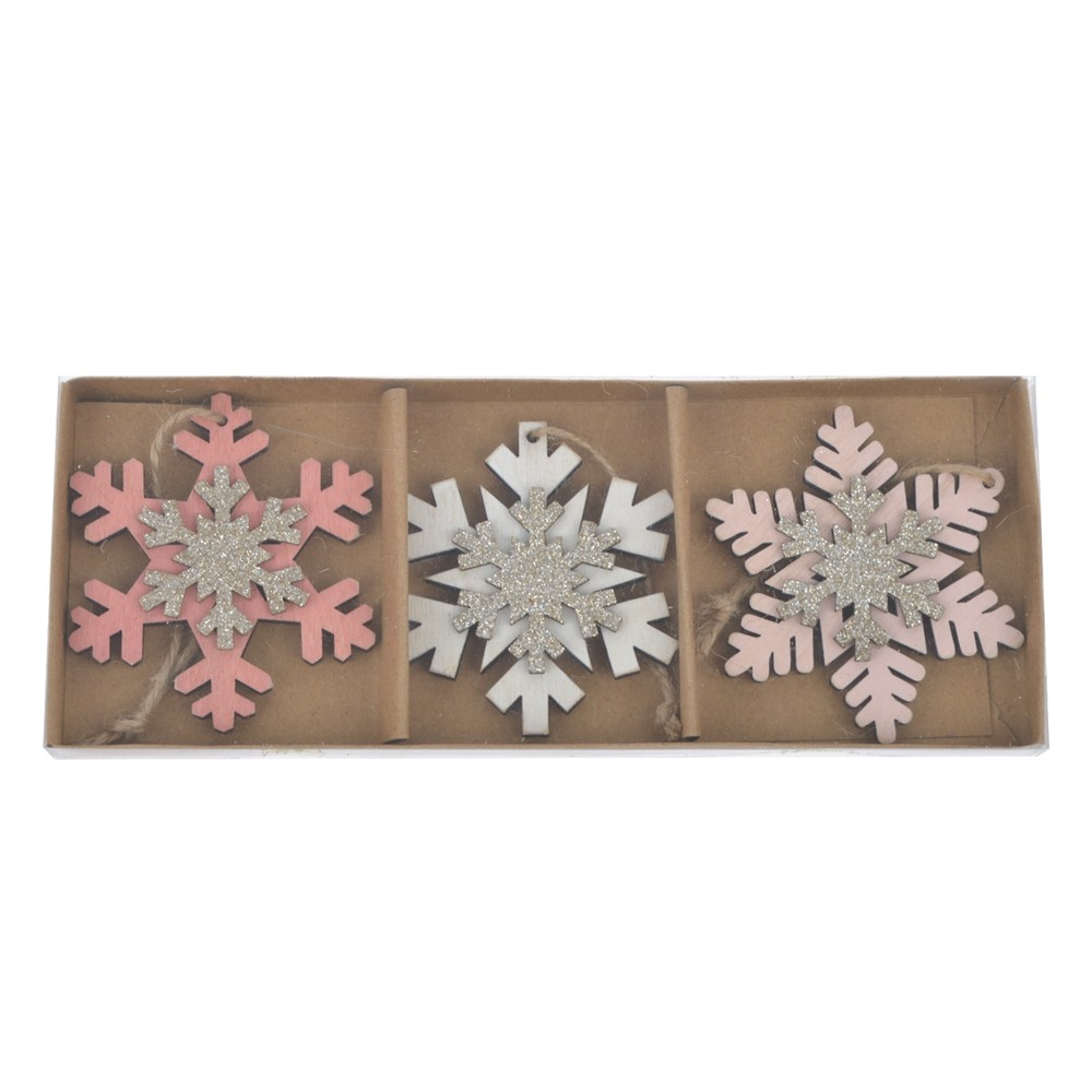 Holiday supplies Christmas snowflake decoration wood Hanging Xmas tree ornaments Party Hanging Gifts decor