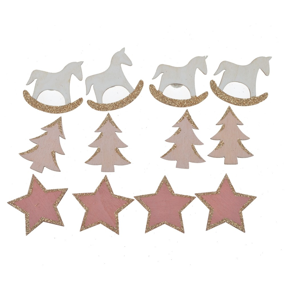 Factory wholesale wood Laser cut Round stick horse tree star self-adhesive table decoration Christmas Holiday table confetti