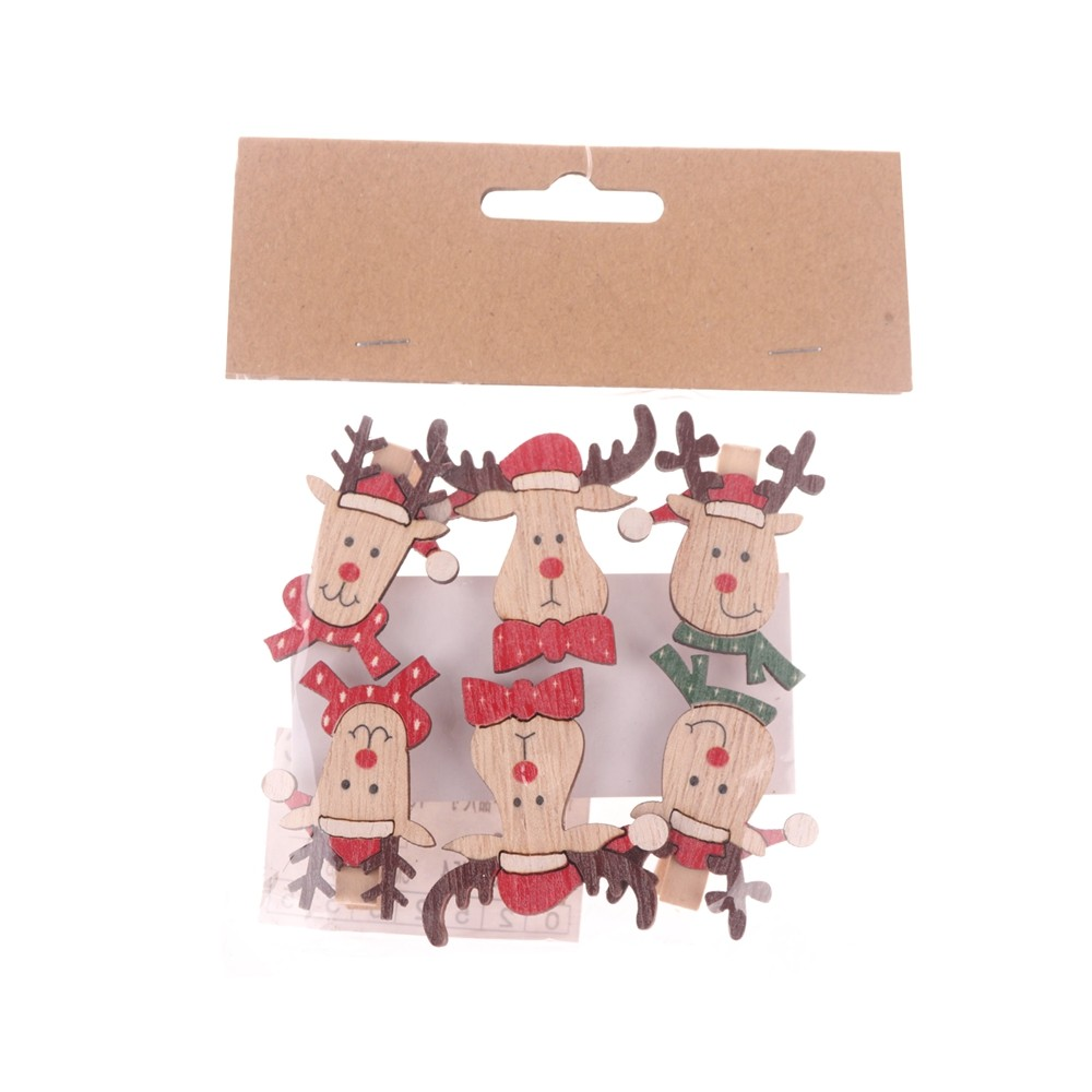 Factory 6 pcs/set Wooden Reindeer pegs Christmas Card Holder pegs Gifts clips Gifts Decoration