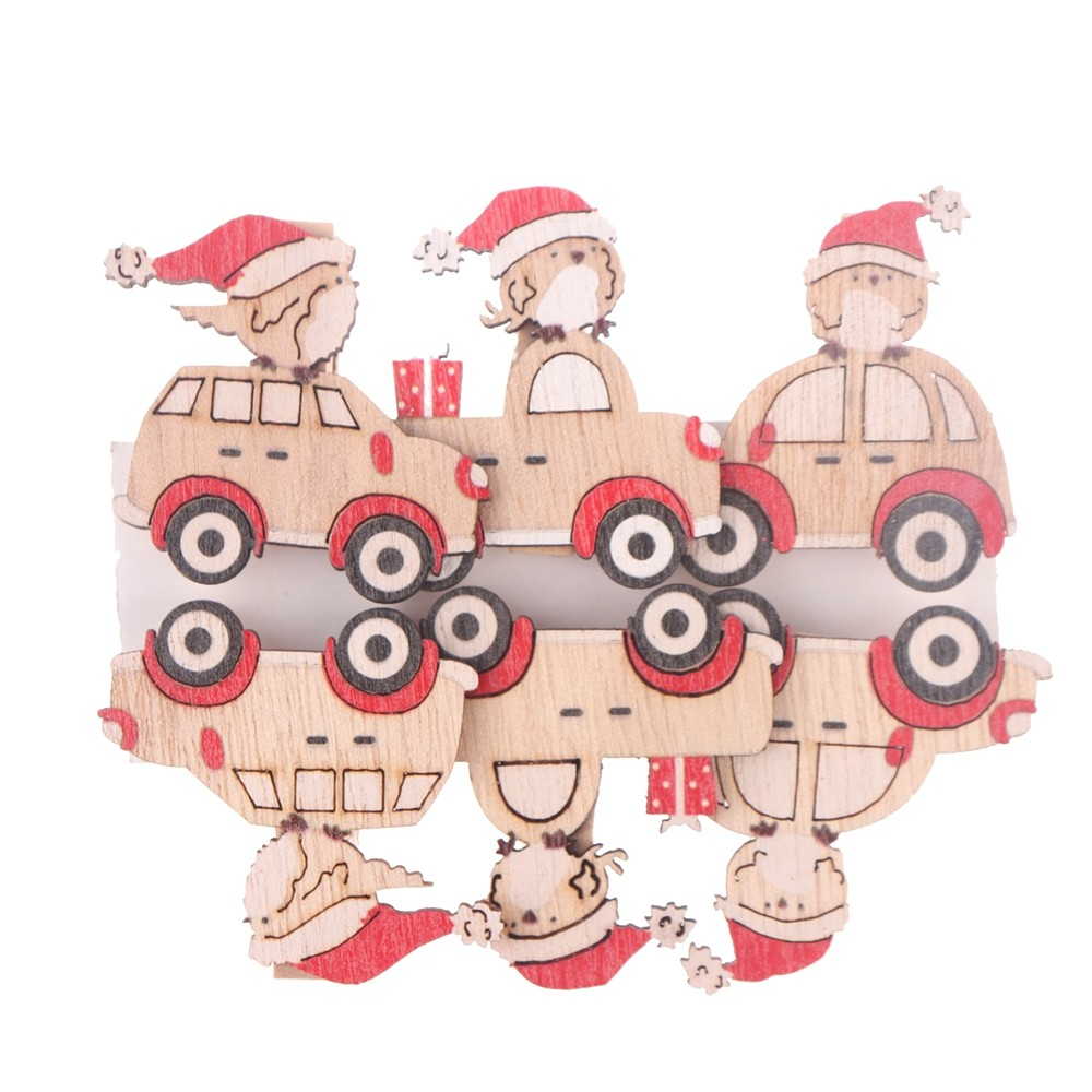 China Factory Wooden Car round stickers card Self Adhesive decor Crafts Decorating DIY Christmas Table confetti