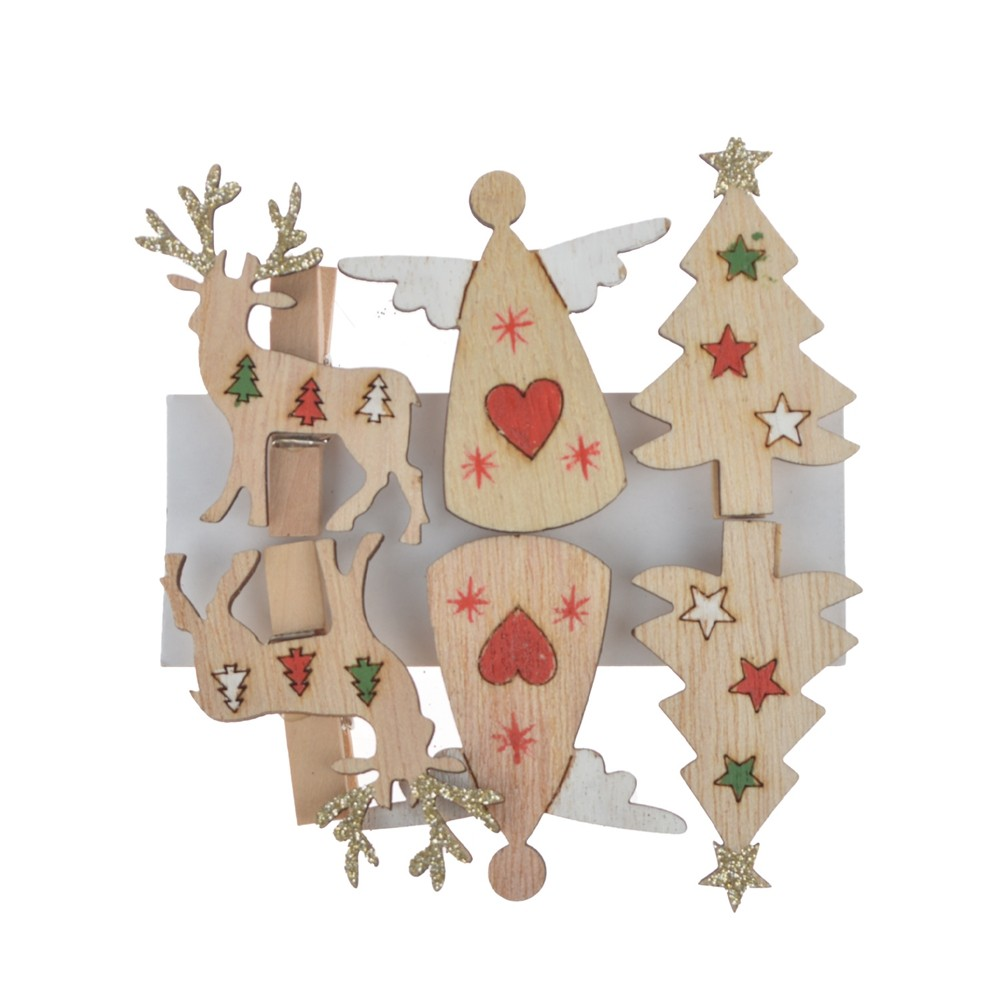 China supplies 6pcs Christmas Wooden Clips pegs Reindeer angle tree Xmas Card Holder Decoration